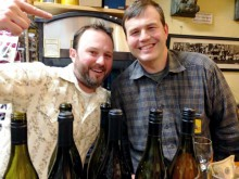 Wine broker Chris Scanlan and D&G winemaker Jared Brandt (right)